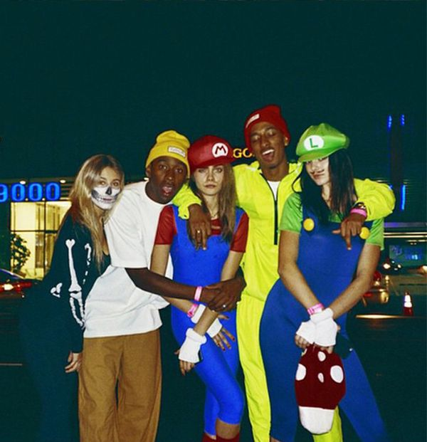 Jenner teams up with fellow model Cara Delevingne for a night out as Mario and Luigi.