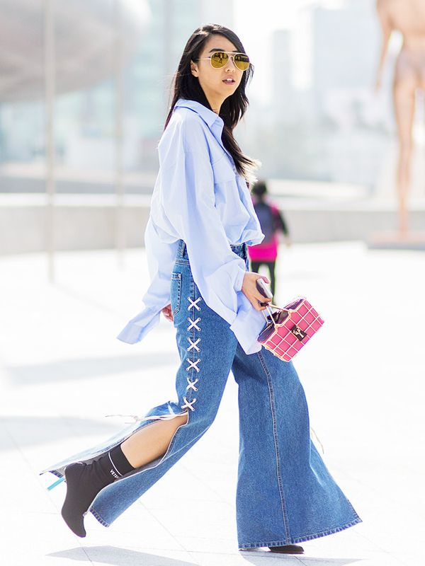 Seoul takes the wide-leg trend to new widths with knee-high slits for added volume.