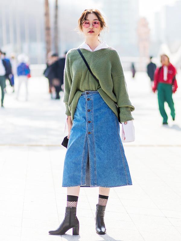 Jean skirts get a refresh in prairie skirt silhouettes.