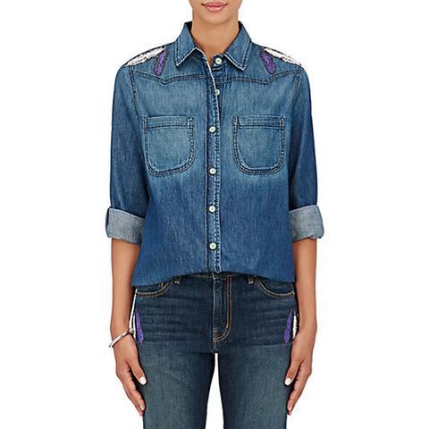 Boyfriend Button-Front Cotton Shirt