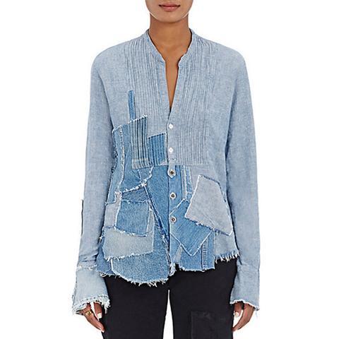 Waterfall Linen-Cotton Tuxedo Shirt