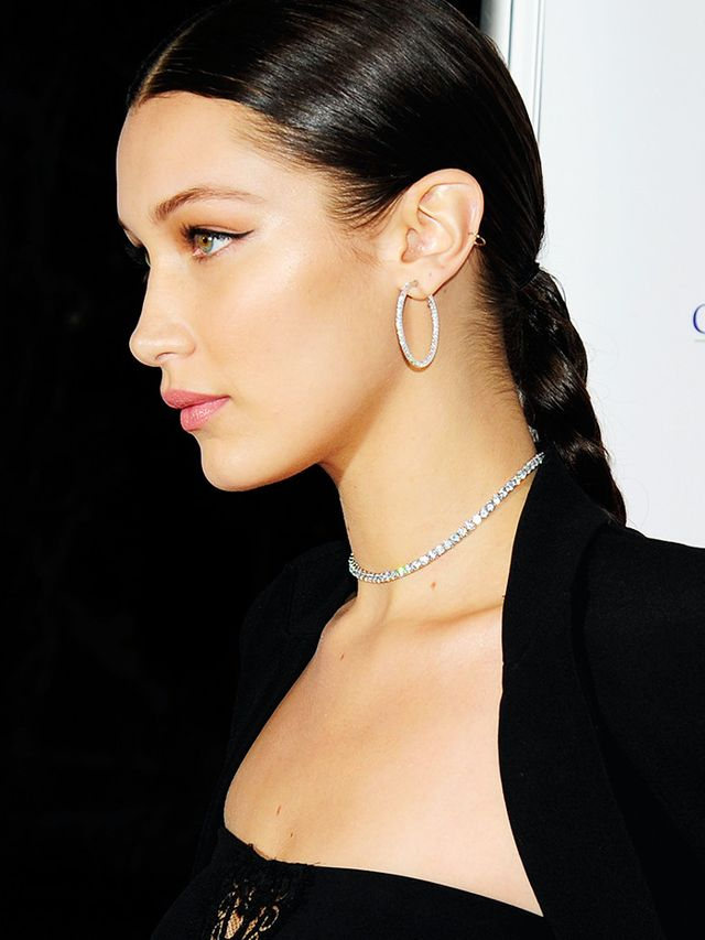 Bella Hadid just found the extra-chic way to do this trend: Add fine sparkles to an LBD come party time.