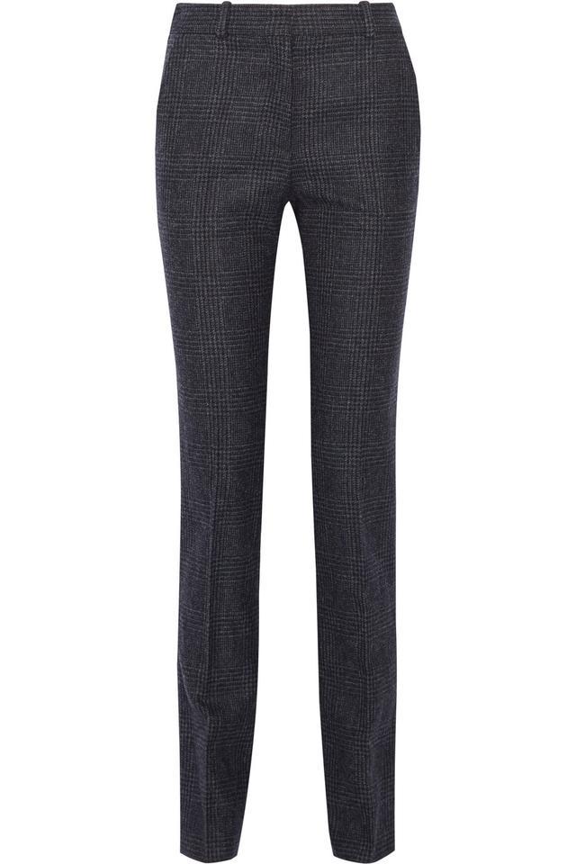 Victoria Beckham Cropped Checked Wool Slim-Leg Pants