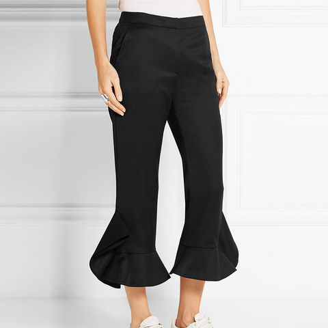 Ruffle-Trimmed Wool Flared Pants