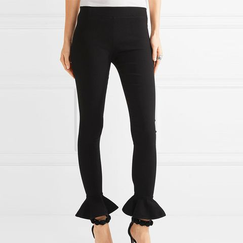 Ruffle-Trimmed Ribbed Stretch-Knit Leggings