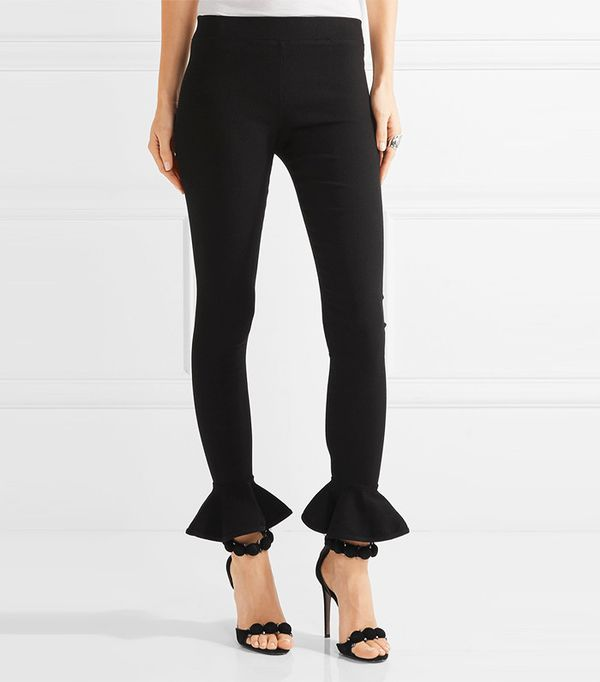 Michael Lo Sordo Ruffle-Trimmed Ribbed Stretch-Knit
