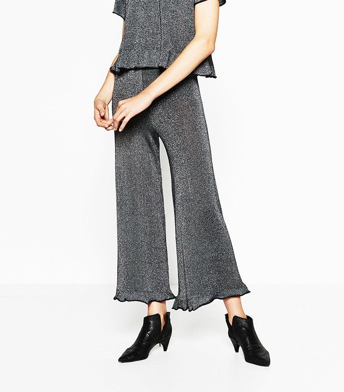 Zara Frilled Shiny Trousers