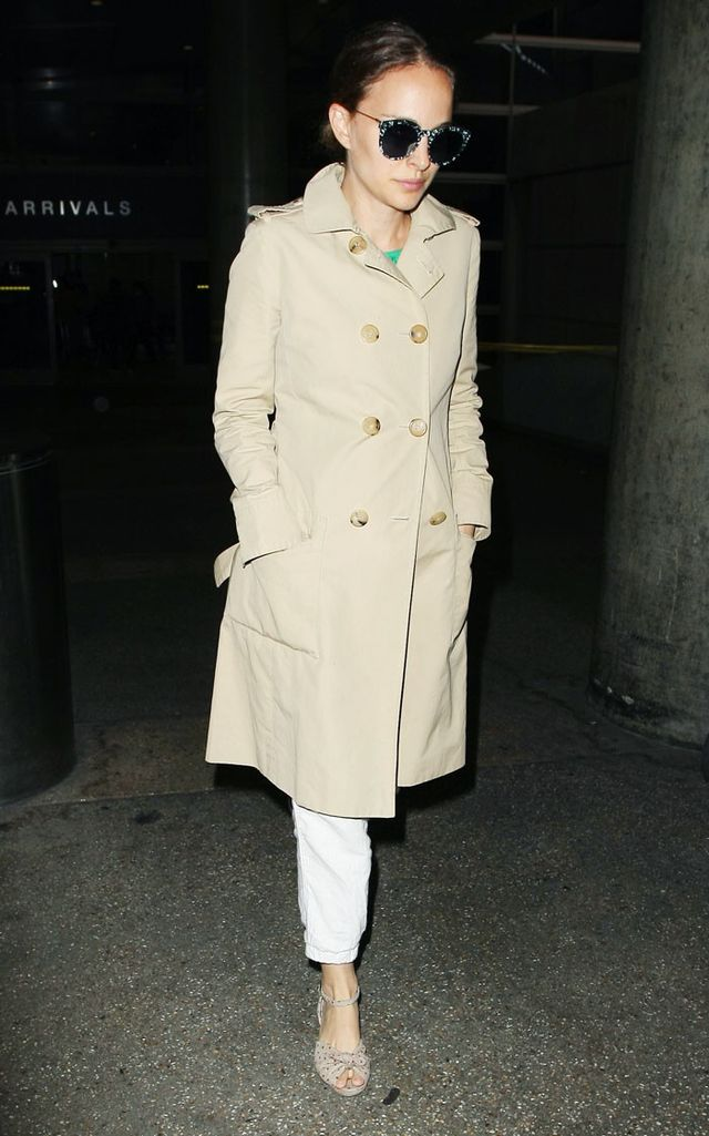 On Natalie Portman:Burberry trench;Charlotte Olympiawedges.