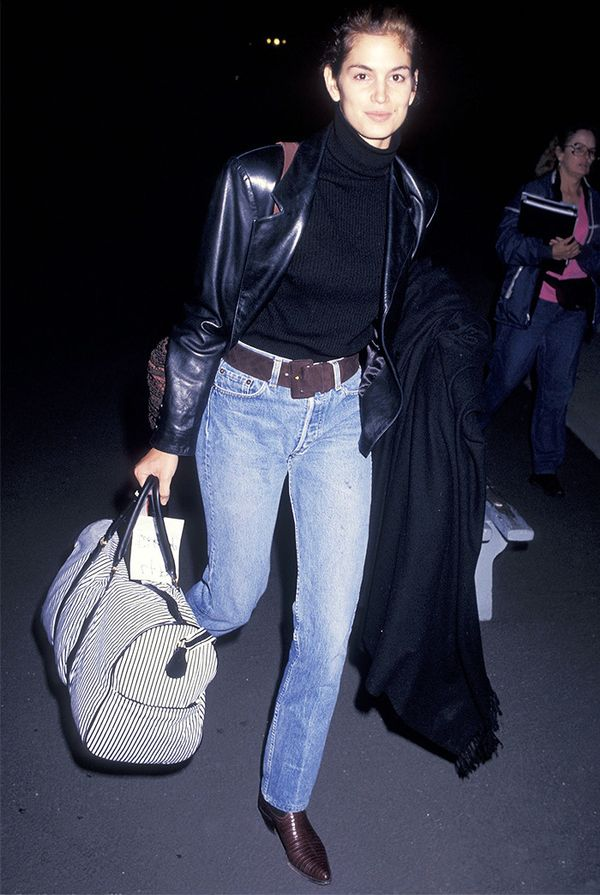 Cindy Crawford street style in the '90s