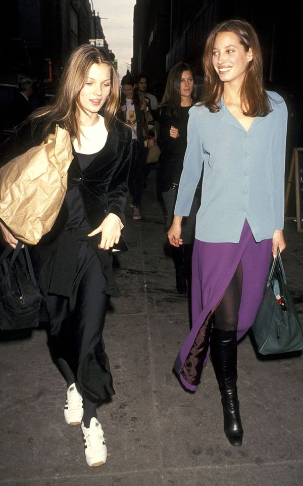 Kate Moss and Christy Turlington street style in the '90s