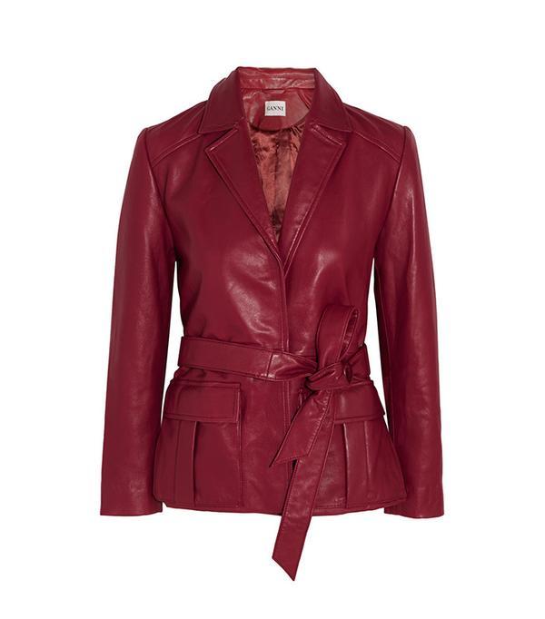 Ganni Passion Belted Leather Jacket