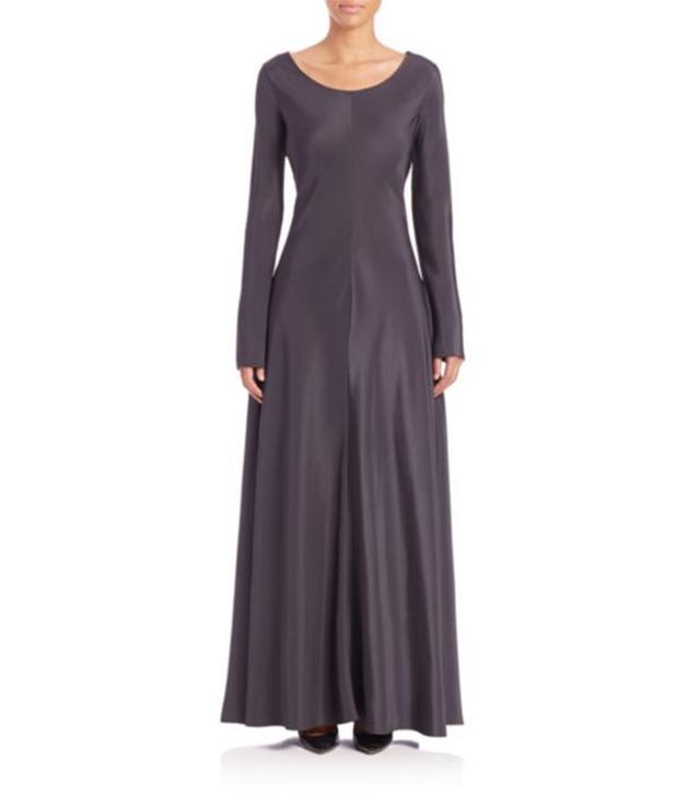 The Row Flora Long-Sleeve Satin Dress