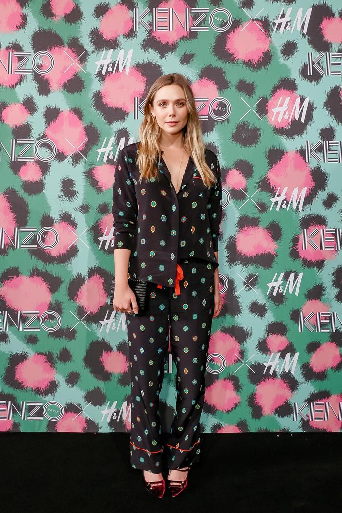 Elizabeth Olsen wearing Kenzo x H&M top and pants.
