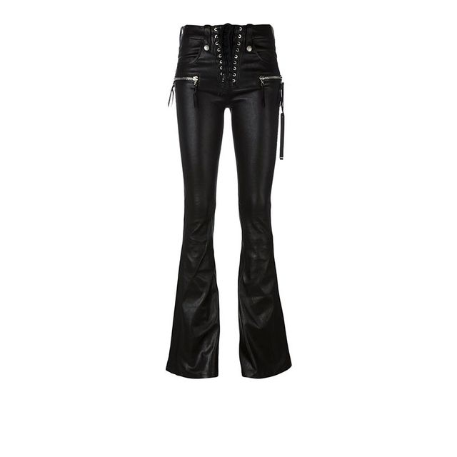Unravel Lace Up Flare Leather Pants