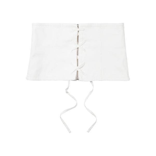 Prada White Lace-Up Denim Waist Belt