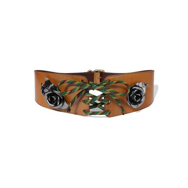 Prada Embellished Lace-Up Leather Waist Belt