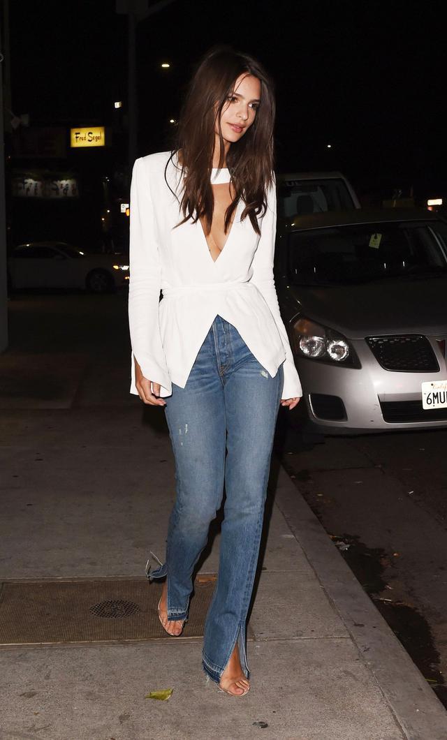 Emily Ratajkowski Grlfrnd x Revolve Natalia High Rise Skinny Split Jean