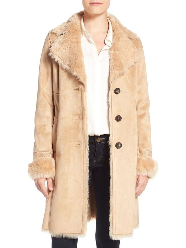 Badgley Mischka Faux Shearling Coat