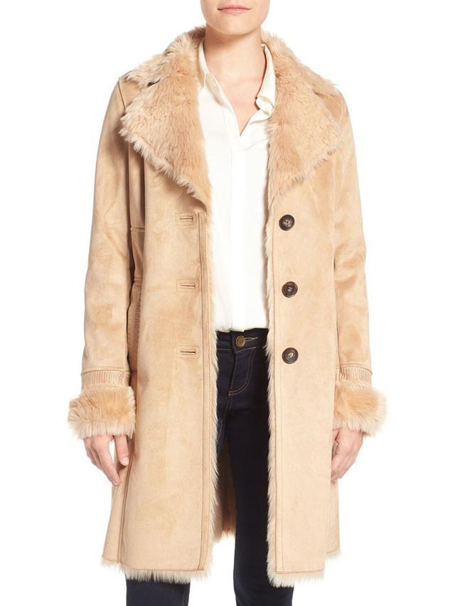 Badgley Mischka Faux Shearling Coat