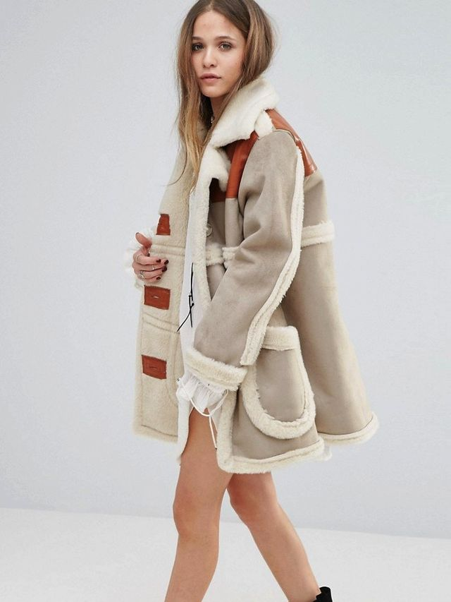 Moon River Faux Suede Coat With Faux Shearling