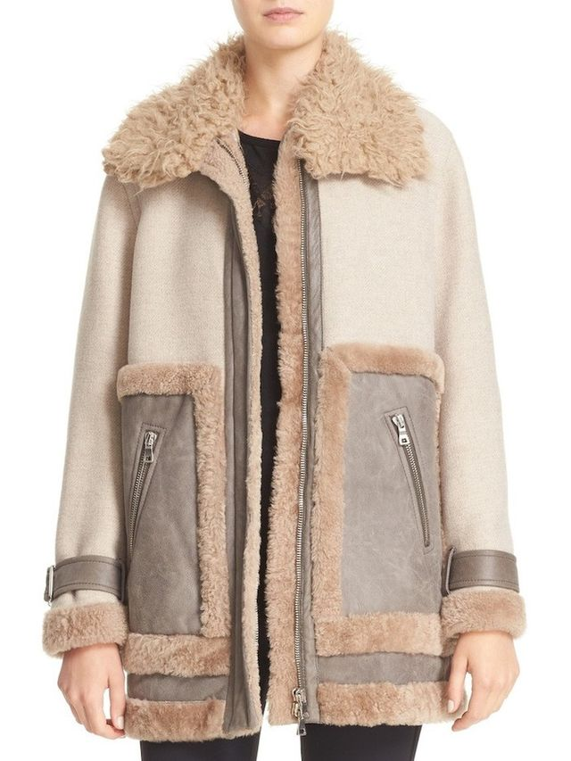 Rebecca Taylor Genuine & Faux Shearling Mixed Media Coat