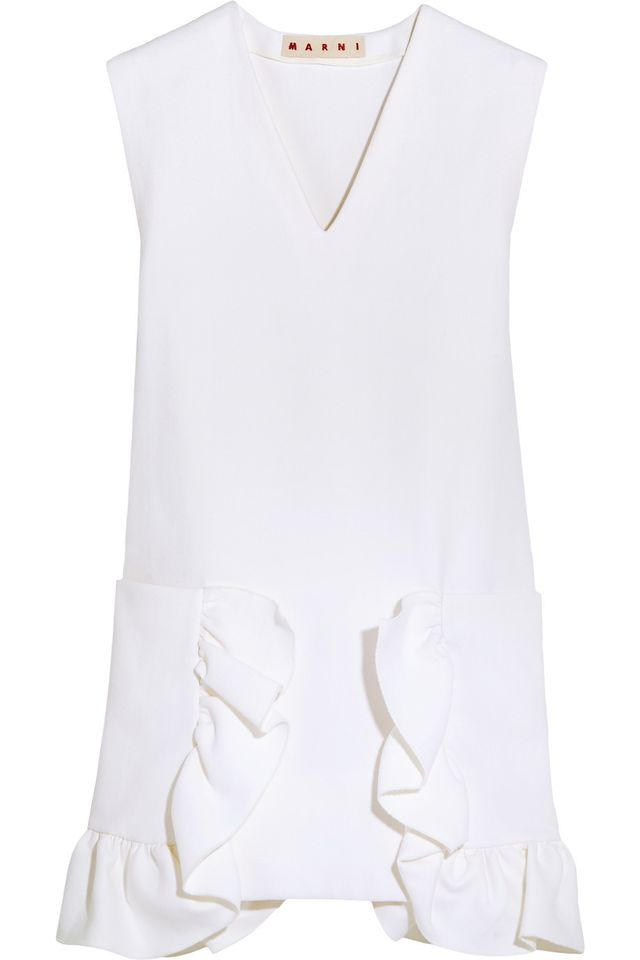 Marni Ruffled Cotton-Blend Crepe Mini Dress