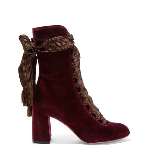 Lace-Up Velvet Ankle Boots