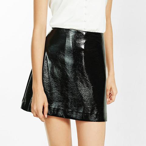 Black Crackle Patent A-Line Skirt
