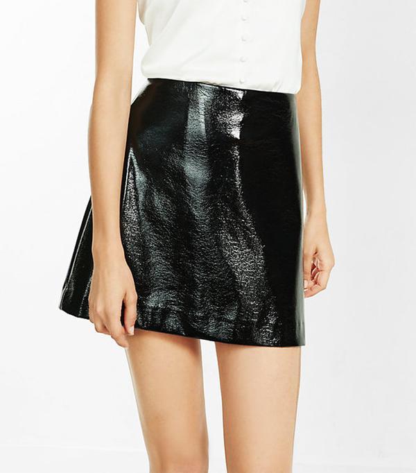 Express Black Crackle Patent A-Line Skirt