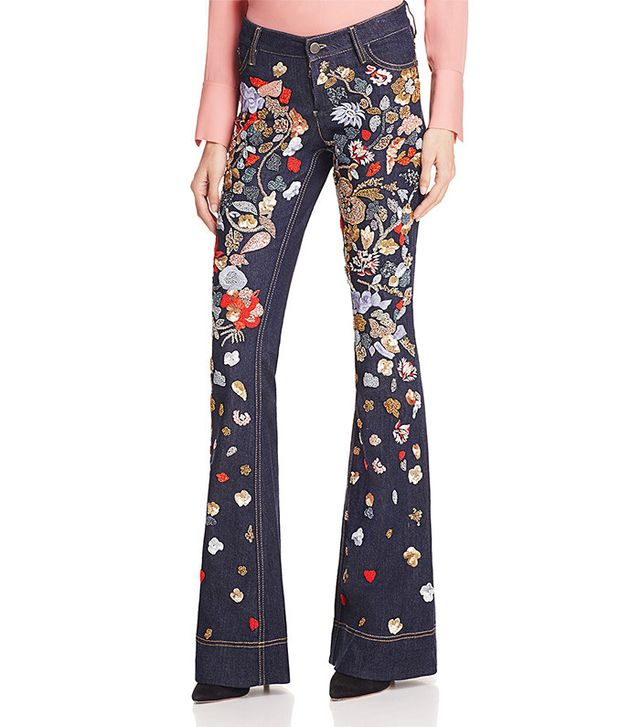 Alice and Olivia Ryley Embroidered Low Rise Jeans