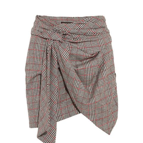 Kim Wrap-Effect Tweed Mini Skirt