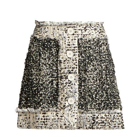 Button-Front Lamé-Tweed Mini Skirt