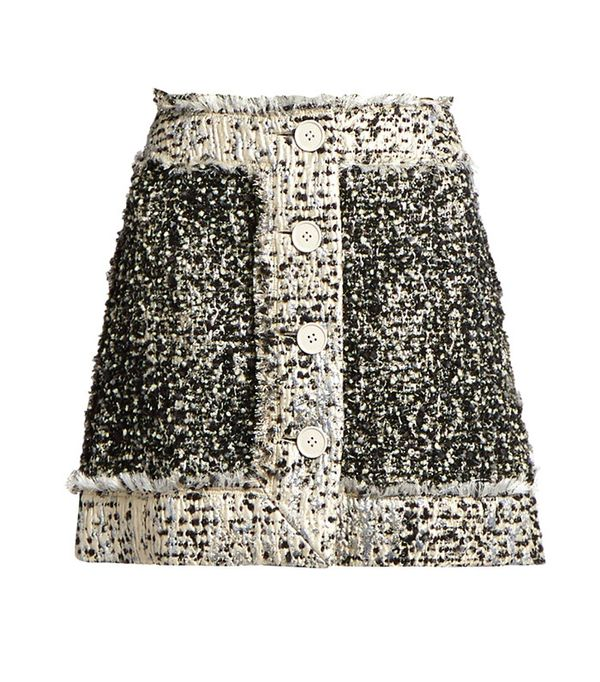 Button-Front Lamé-Tweed Mini Skirt by Christopher Kane