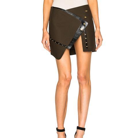 Open Button Down Split Mini Skirt
