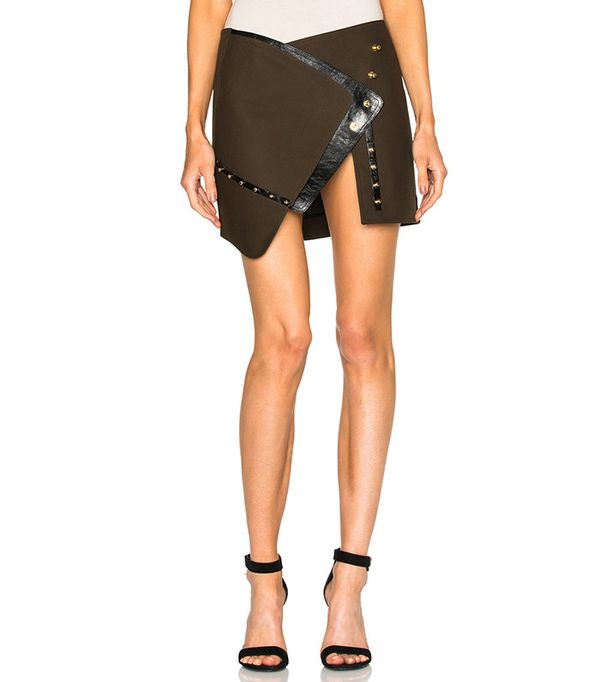 Open Button Down Split Mini Skirt by Anthony Vaccarello