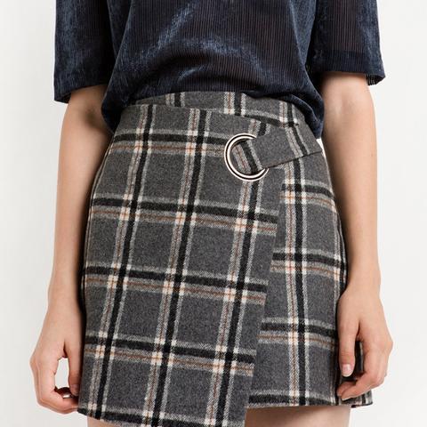 Grey Plaid Ring Wrapped Mini Skirt