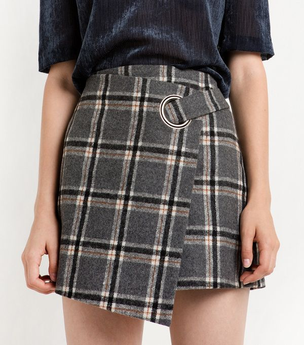 Grey Plaid Ring Wrapped Mini Skirt by Pixie Market