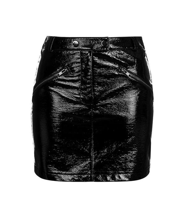 Vinyl Zip Pocket Mini Skirt by Topshop