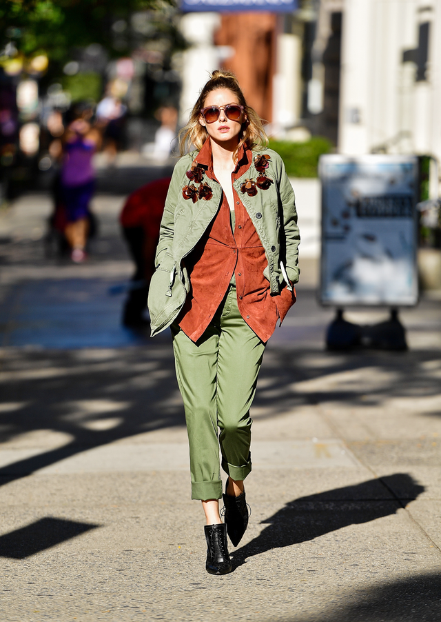 On Olivia Palermo: Banana Republic jacket, shirt, and pants; and Givenchy Cutout Ankle Boots ($1295).