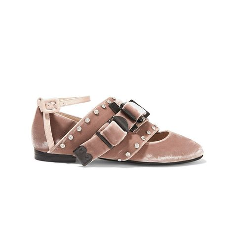 Leather-Trimmed Crystal-Embellished Velvet Ballet Flats