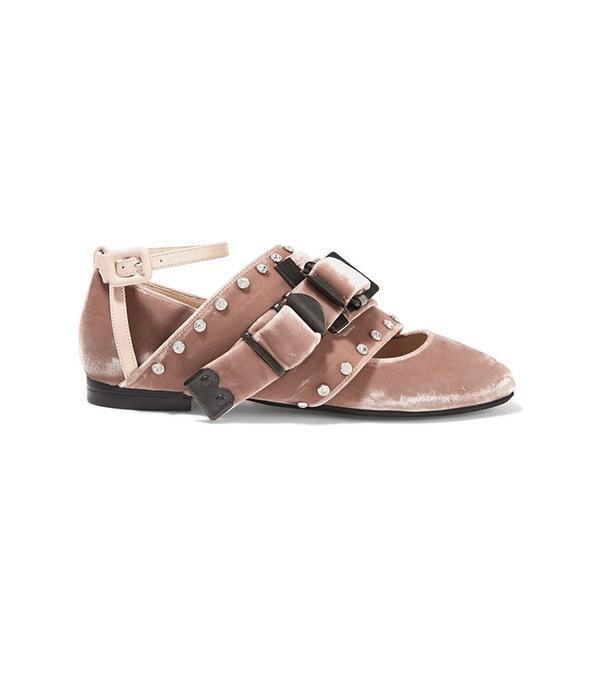 No. 21 Leather-Trimmed Crystal-Embellished Velvet Ballet Flats