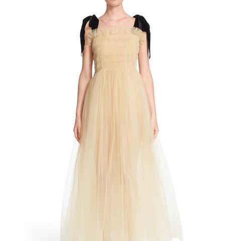Velvet Strap Tulle Dress