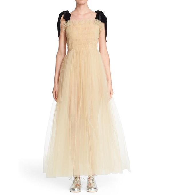 Molly Goddard Velvet Strap Tulle Dress