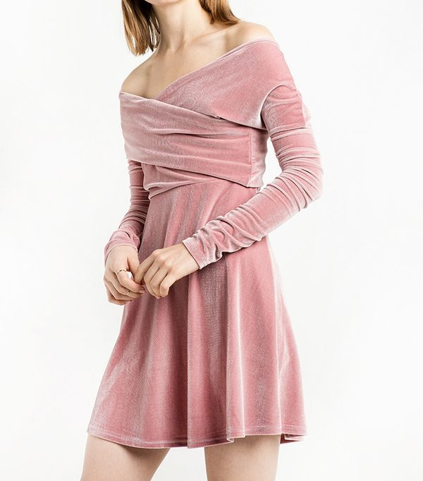 Pixie Market Valerie Dusty Pink Velvet Off The Shoulder Dress