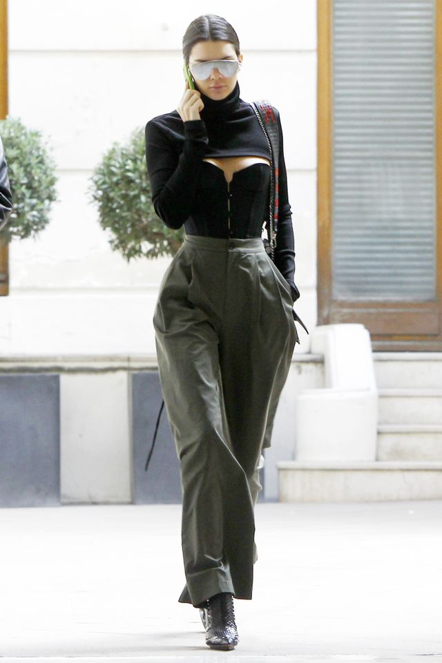 On Jenner: Zaid Affas high-neck crop top; L'Agent by Agent Provocateur Penelope Corset; Erika Cavallini Marlon Trousers; Givenchy ankle boots.