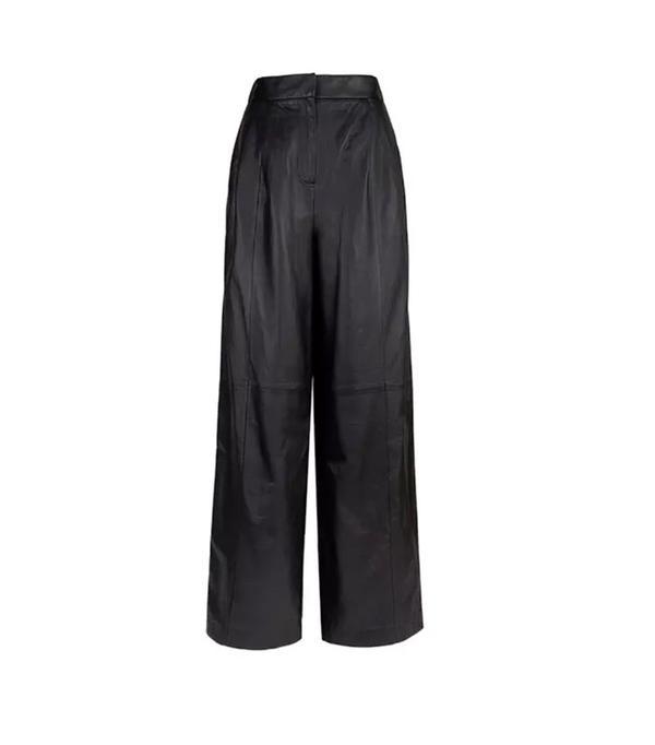 Tibi Leather Wide-Leg Pants