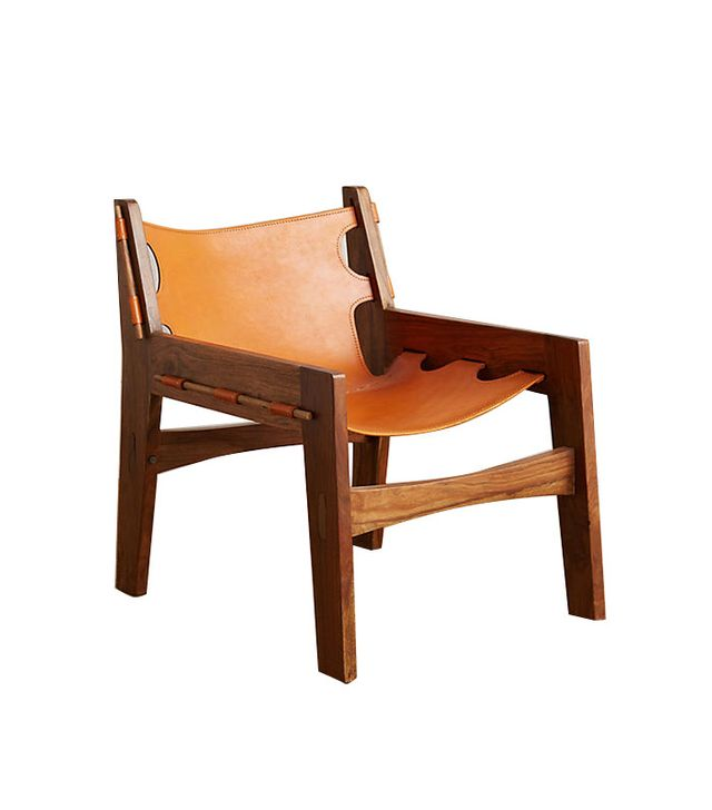 Anthropologie Leather Sling Chair