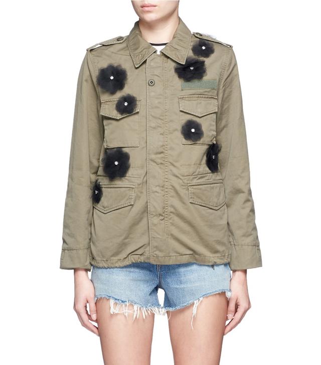 Tu Es Mon Trésor Flower Tulle Mesh Petal Military Jacket