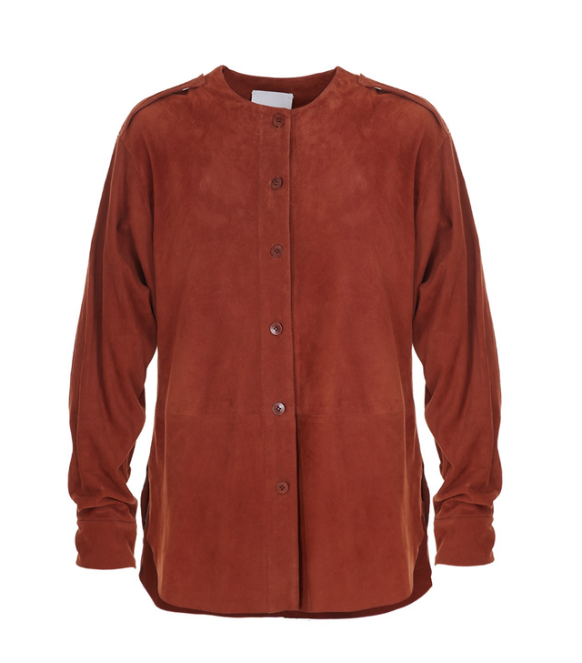 Tibi Featherweight Suede Luxe Shirt