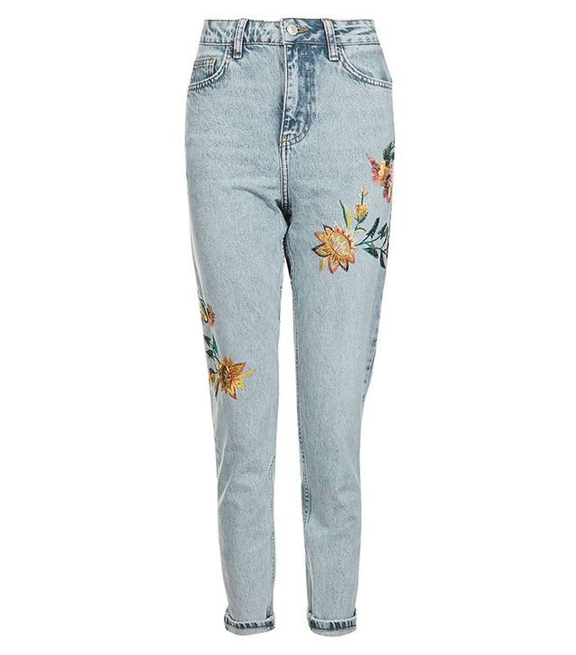 Topshop Moto Fall Floral Embroidered Mom Jeans